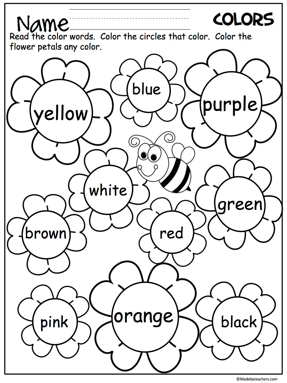 Color Word Practice Worksheet