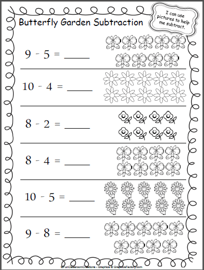 Butterfly Garden Subtraction Worksheet