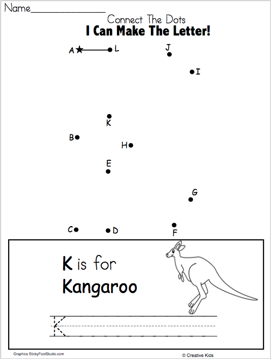 Free Letter K Writing And Dot To
