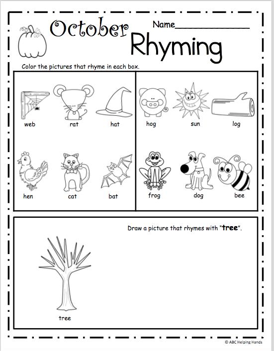 October Rhyming Worksheet For Kindergarten Madebyteachers