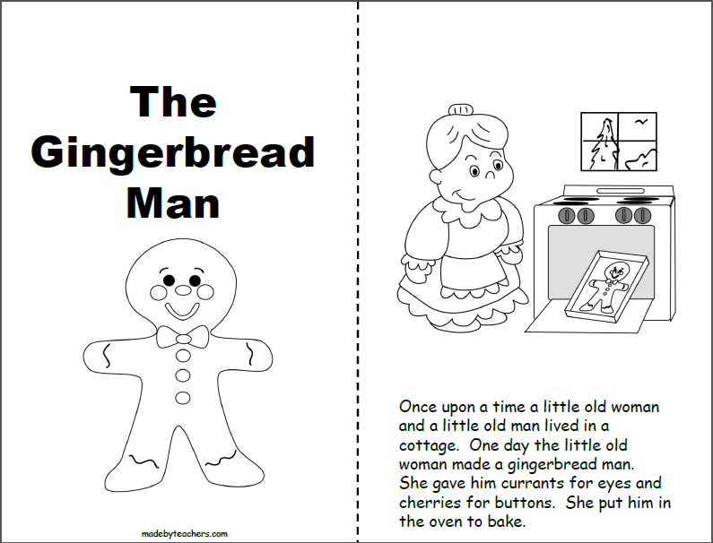 Gingerbread Man Printable Book 1st And 2nd Madebyteachers