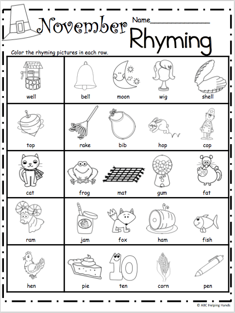 Free Kindergarten Rhyming Worksheets For November
