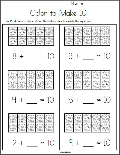Butterfly Ten Frames Free Math Addition For Kindergarten