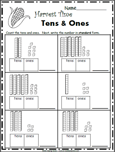 Free November Math Worksheets For 1st Grade Base 10 Blocks