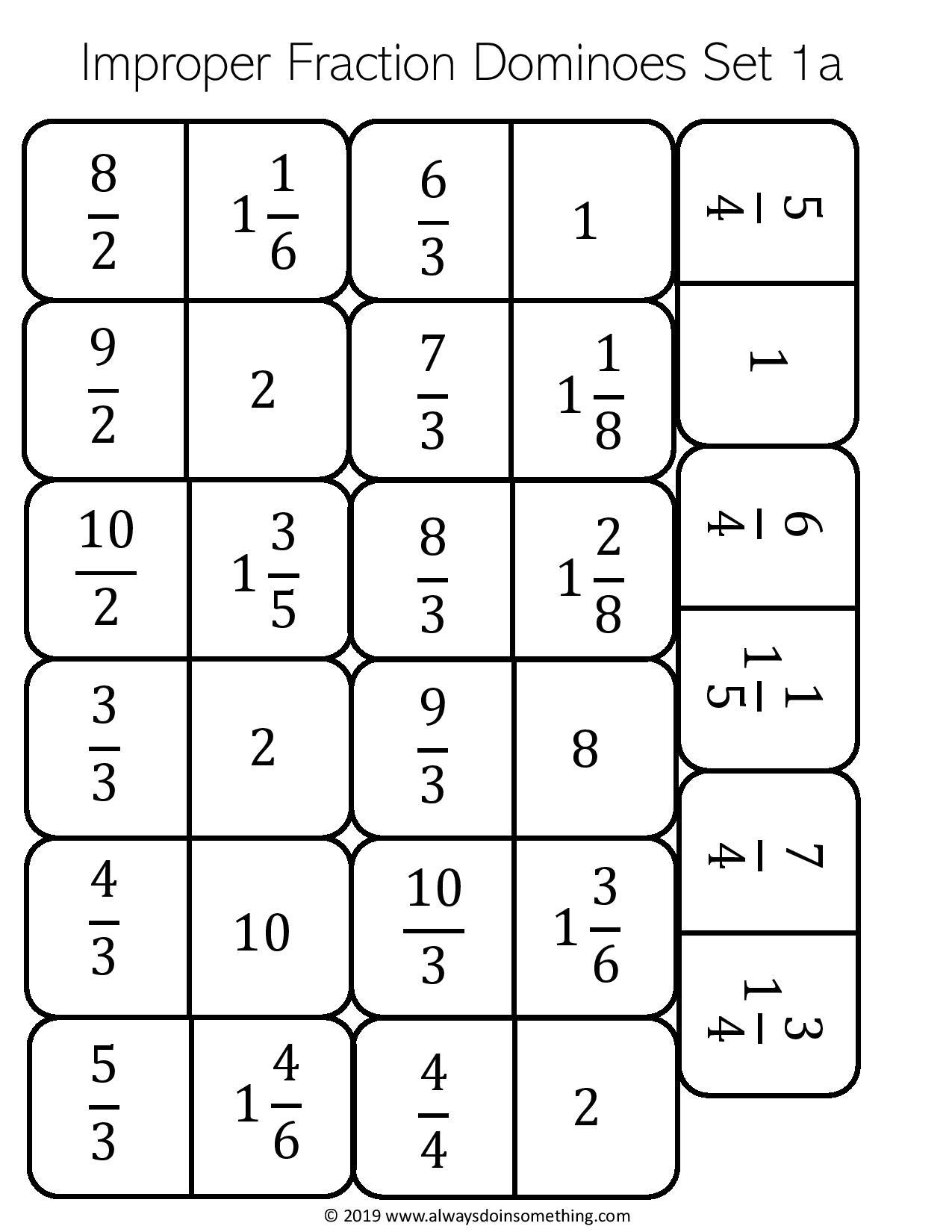 Improper Fraction Dominoes