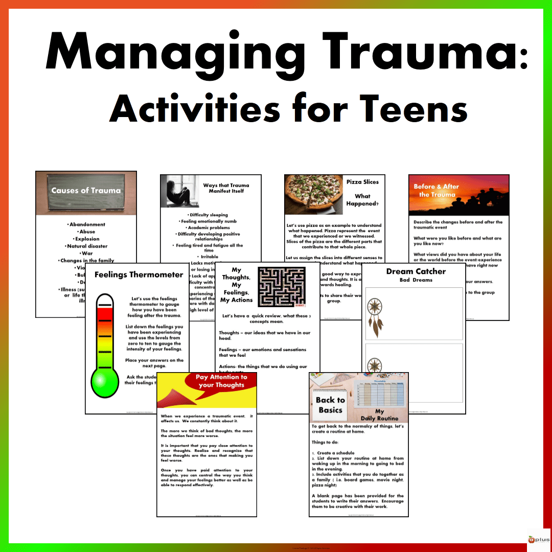 Managing Trauma Activities For Teens