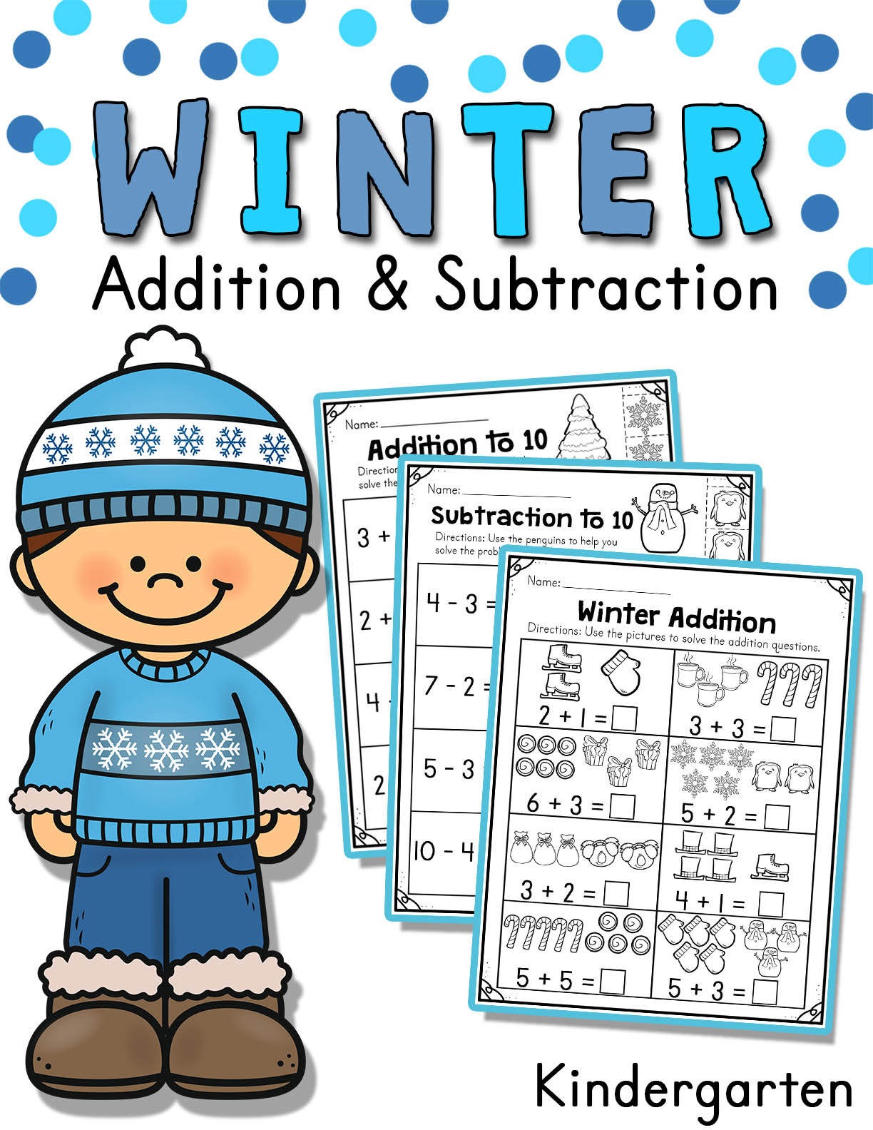 Winter Addition And Subtraction Worksheets 1 To 10
