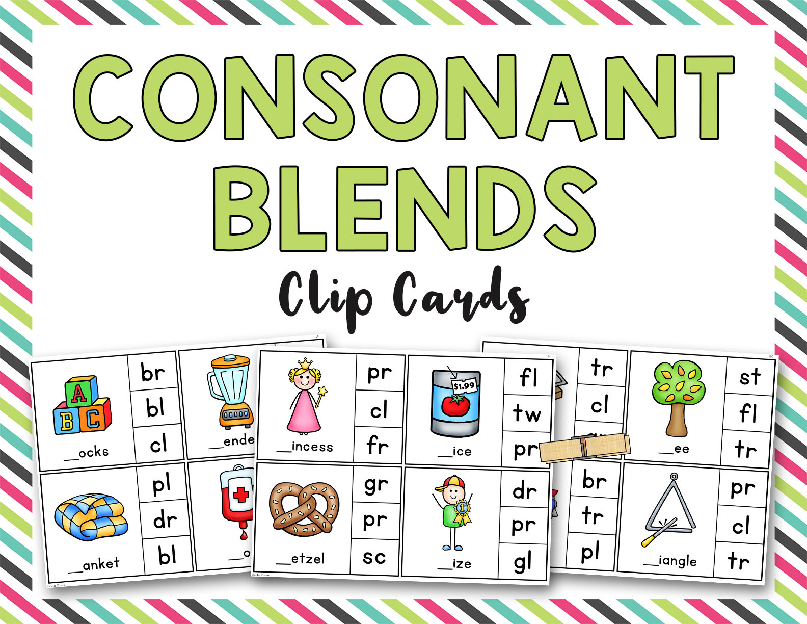 Consonant Blends Clip It Cards Bl Br Cl Cr