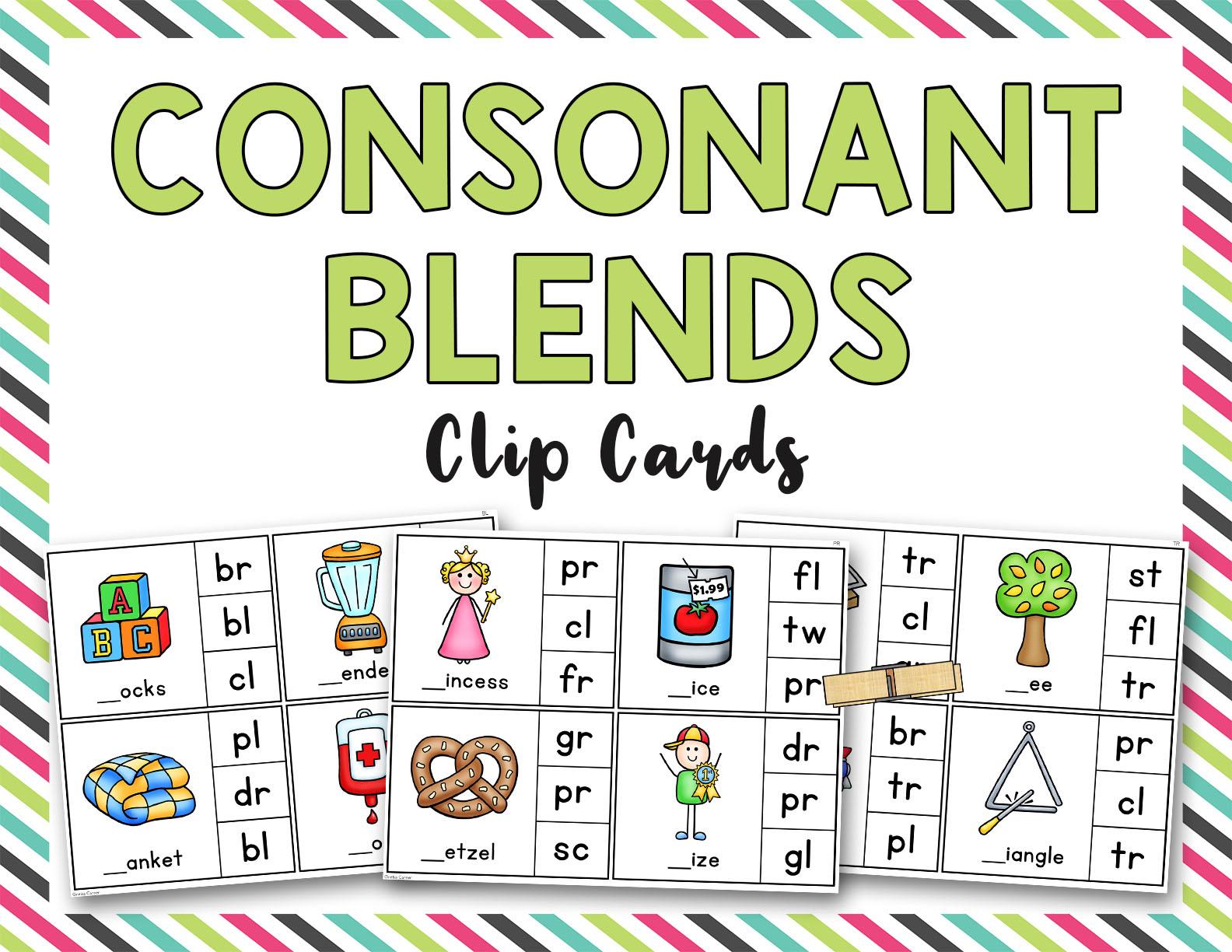 Consonant Blends Clip It Cards Bl Br Cl Cr