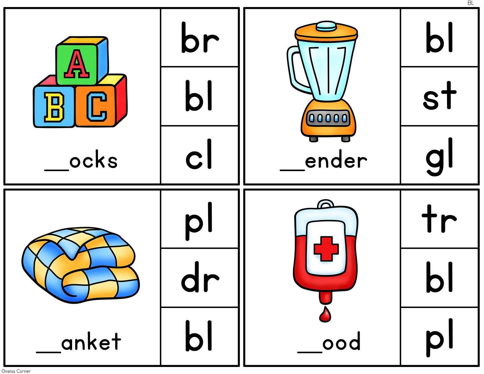 Consonant Blends Clip It Cards L R S Blends