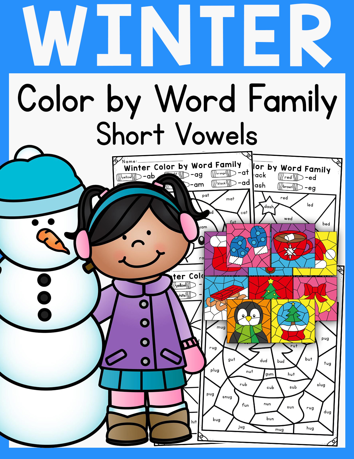 Winter And Christmas Color By Word Family