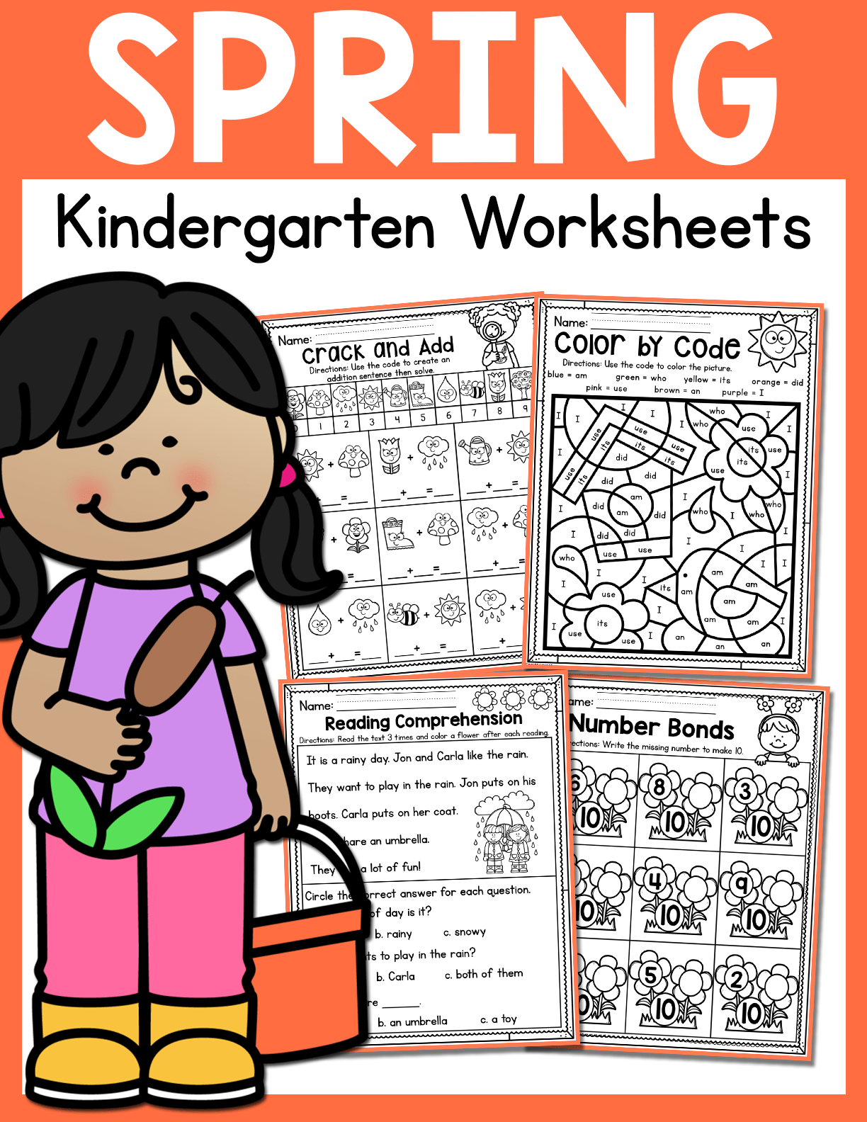 Spring Kindergarten Worksheets May Distance Learning