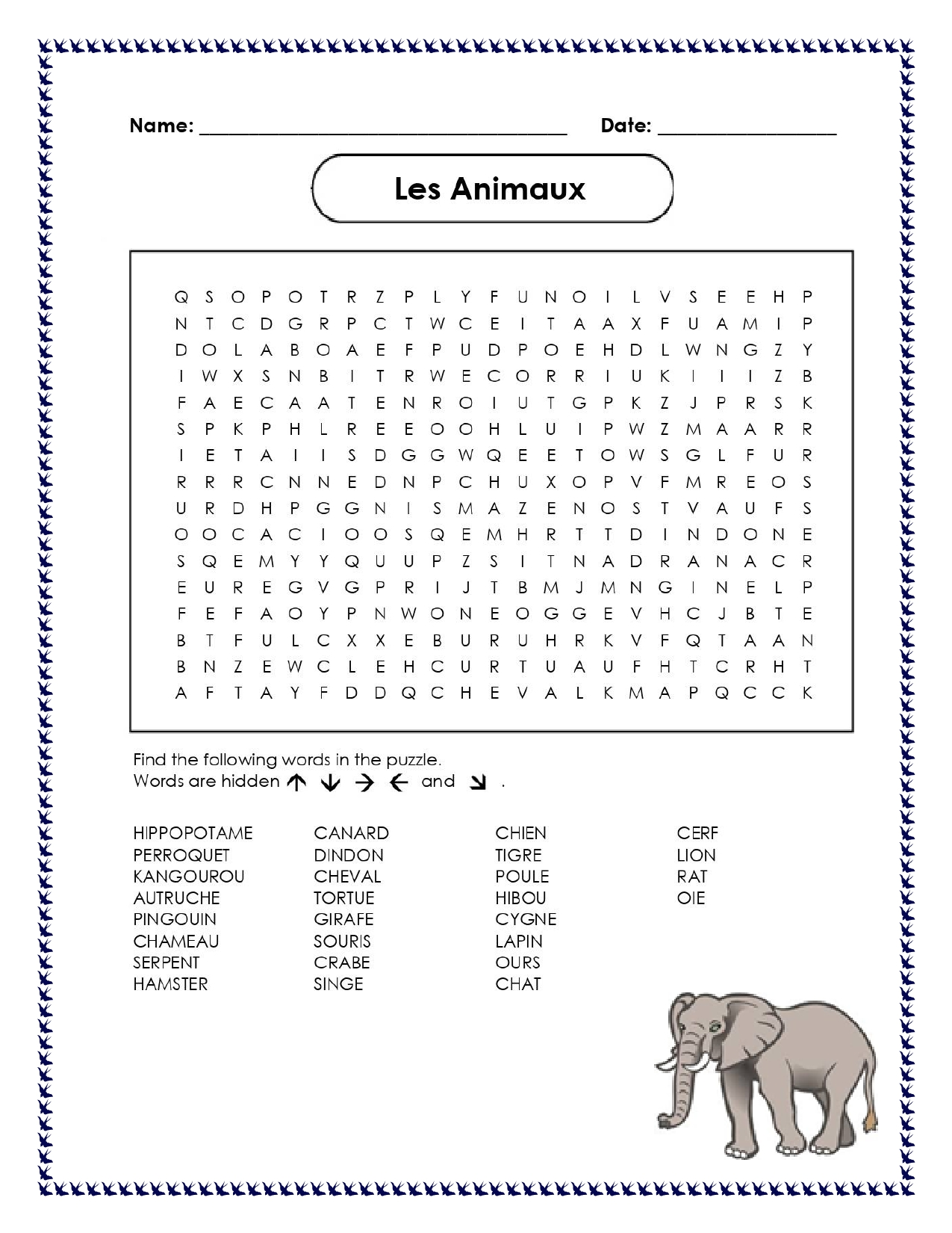 French Animals Les Animaux Distance Learning Worksheets