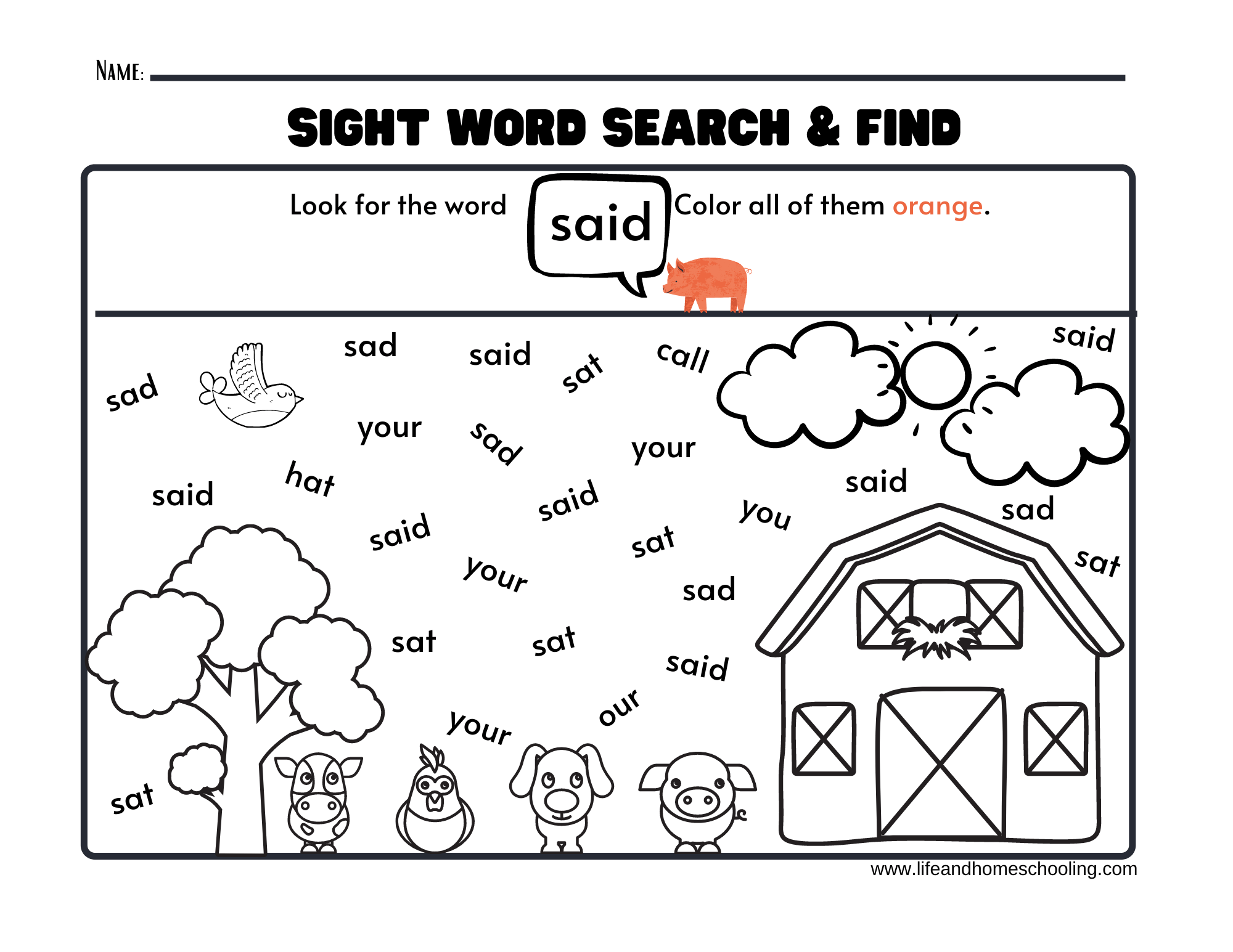 Sight Words Printable Activity Worksheets