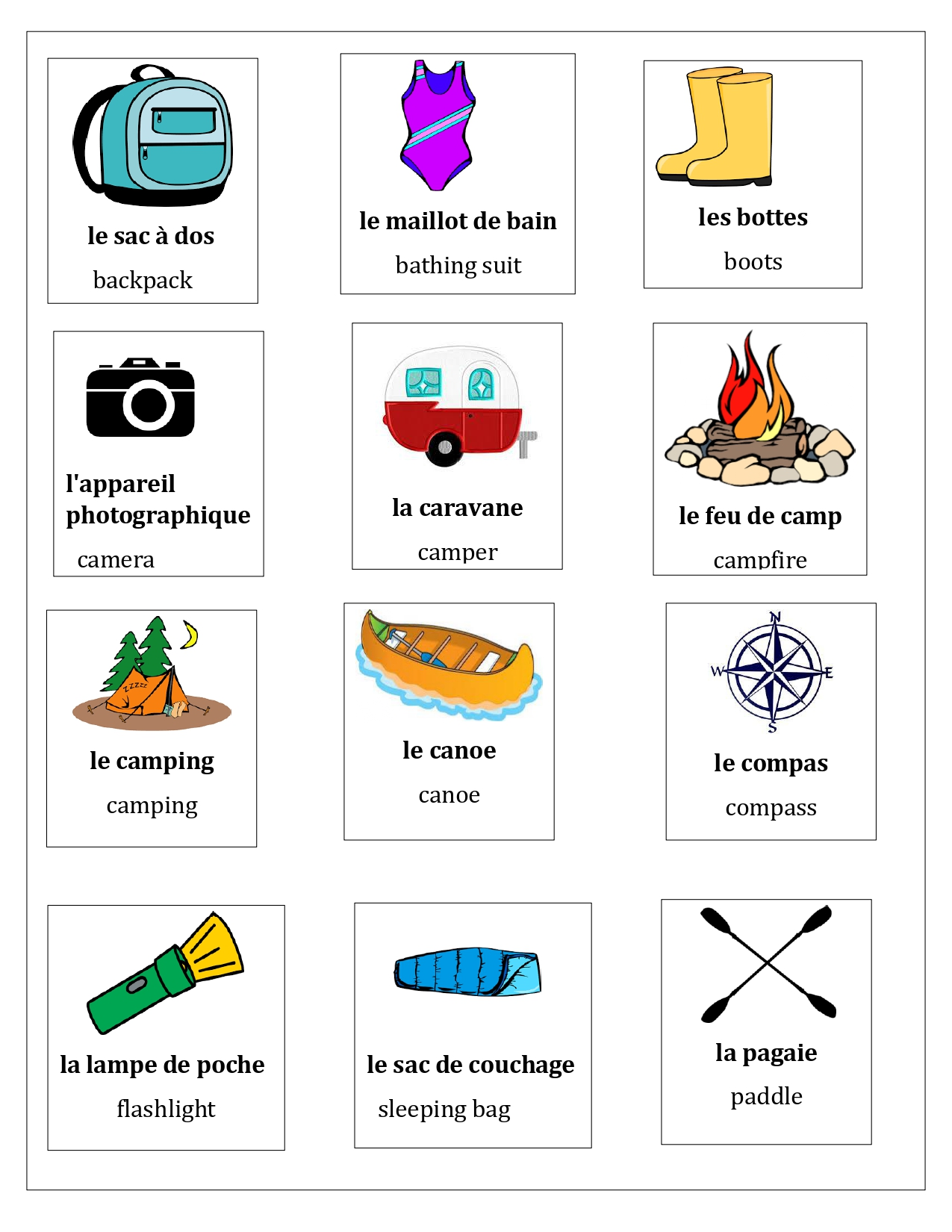 Au Camping French Distance Learning Activities And Games
