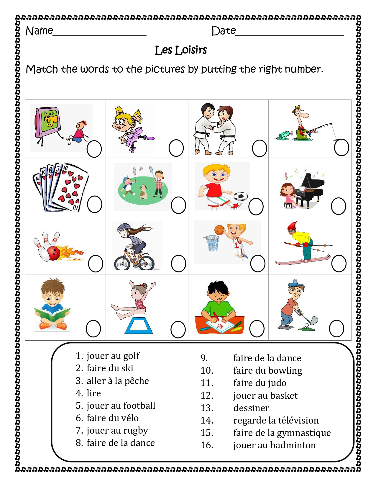 Les Loisirs French Free Time Activities Worksheets For