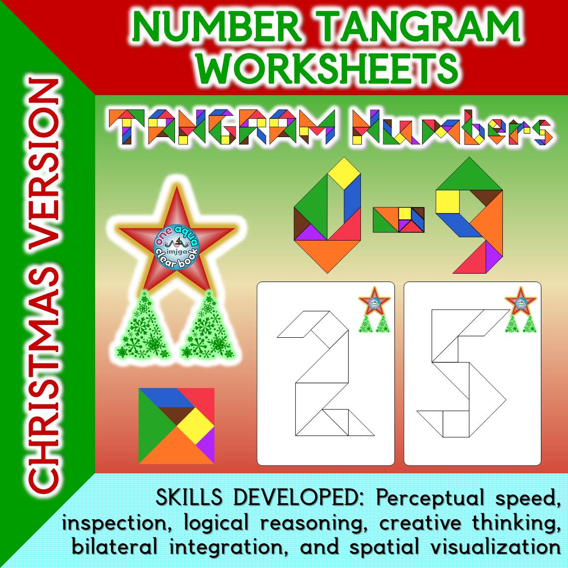 Number Tangram Worksheets Christmas Version