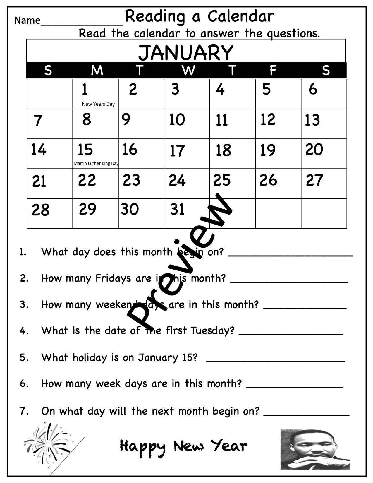 Calendar Math Worksheets