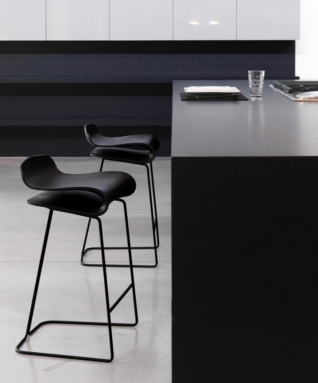 Tabouret De Bar BCN H 76 Cm Noir Pied Chrom Kristalia