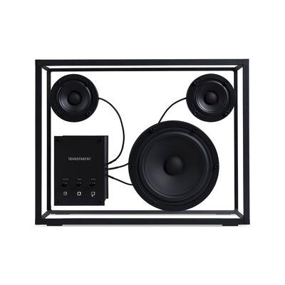 enceinte large l 42 x h 33 cm verre trempe transparent speaker
