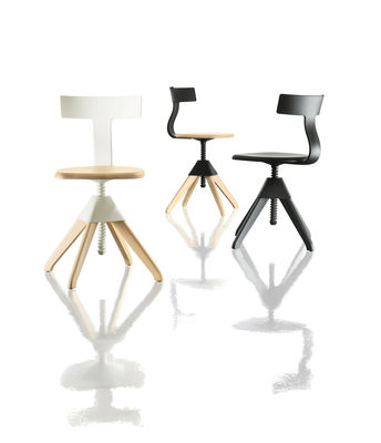 chaise pivotante tuffy bois plastique hauteur reglable magis