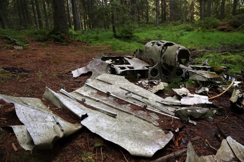 Restene av et tysk bombefly, ved Hansakollen i Maridalen i Nordmarka.
