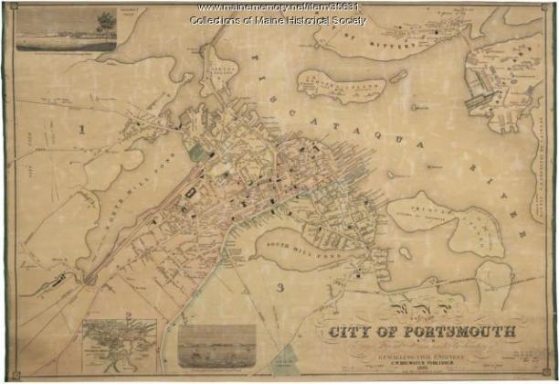 Map of the city of Portsmouth  New Hampshire  1850   Maine Memory     Map of the city of Portsmouth  New Hampshire  1850