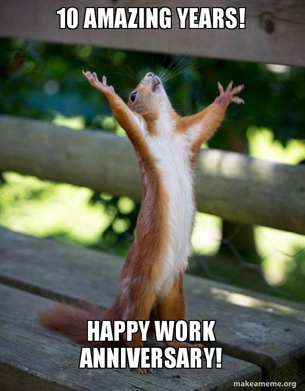 10 Amazing Years Happy Work Anniversary Happy Squirrel Make