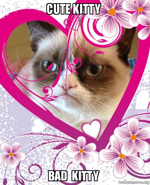 Cute Kitty Bad Kitty Grumpy Cat Valentines Day Make A Meme