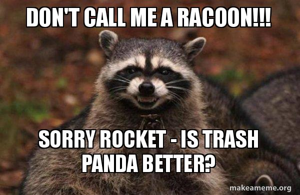 Don T Call Me A Racoon Sorry Rocket Is Trash Panda Better