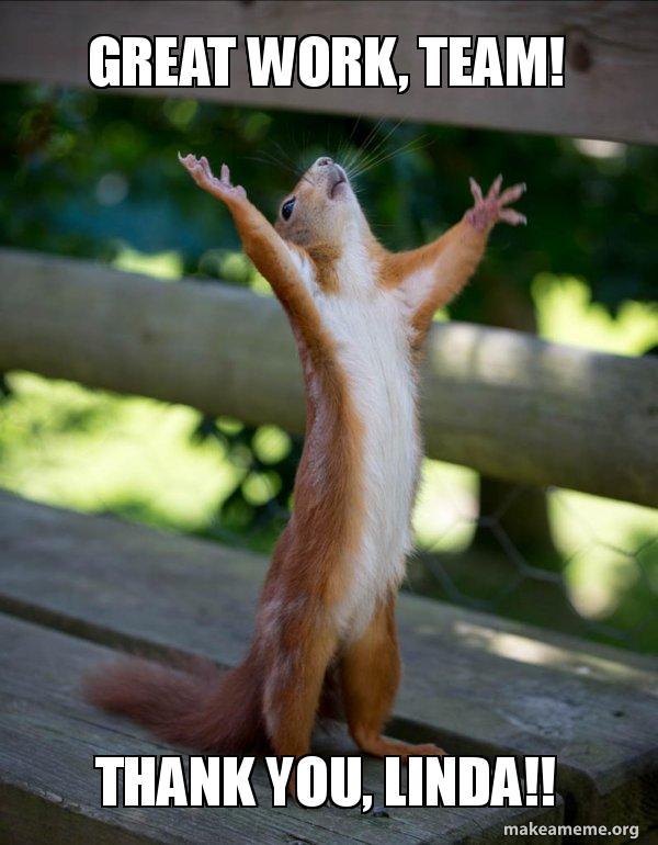 Great Work Team Thank You Linda Happy Squirrel Make A Meme