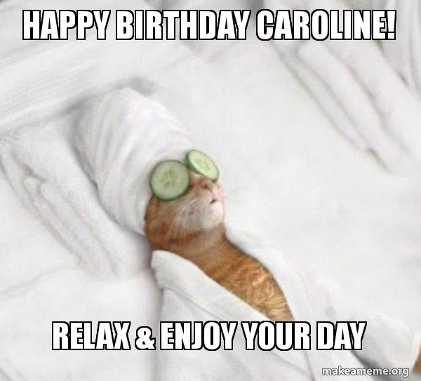 Happy Birthday Caroline Relax Enjoy Your Day Pampered Cat Meme Make A Meme