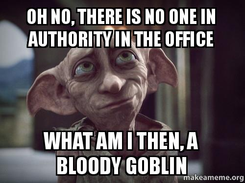 Oh No There Is No One In Authority In The Office What Am I Then