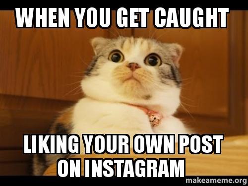 When You Get Caught Liking Your Own Post On Instagram Make A Meme