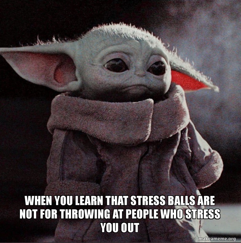 When You Learn That Stress Balls Are Not For Throwing At People