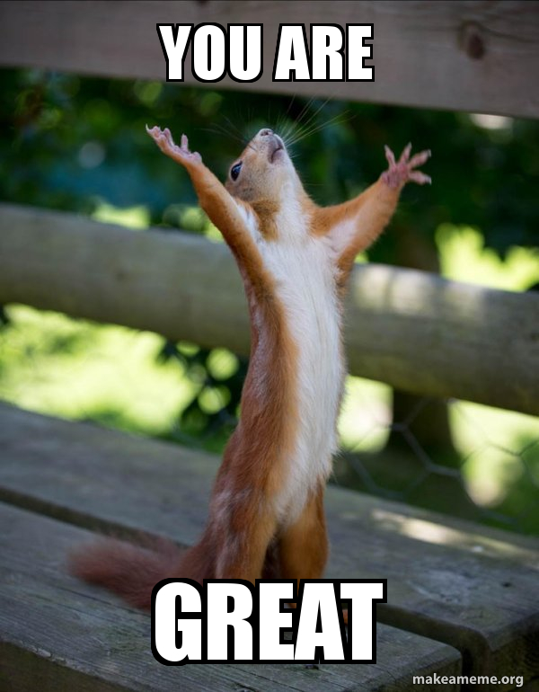You Are Great Happy Squirrel Make A Meme