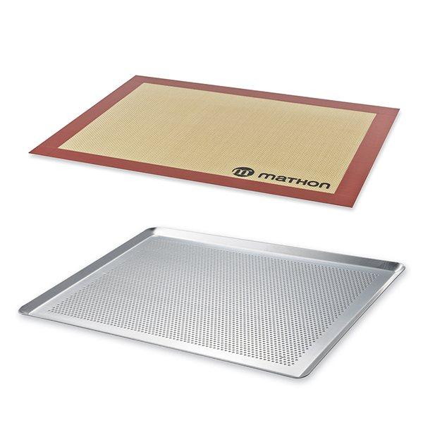 lot plaque a patisserie perforee 40 cm et tapis de cuisson pro