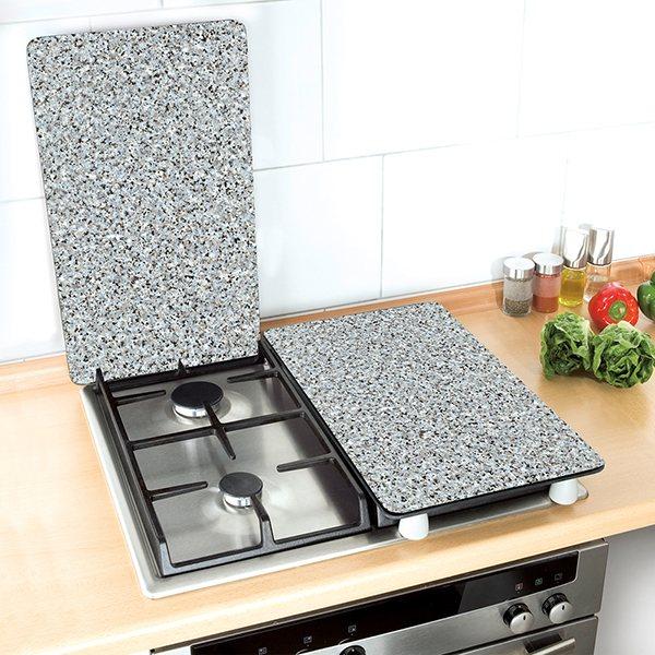 set 2 couvre plaques protection motifs granit