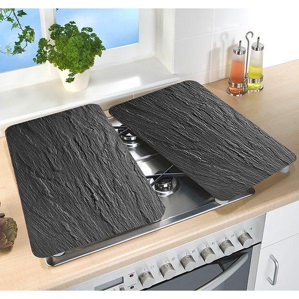 set 2 couvre plaques protection en verre motifs ardoise