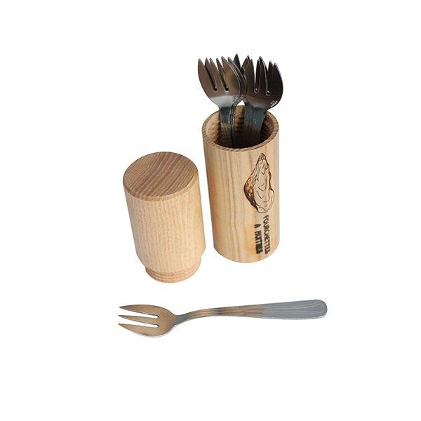 6 fourchettes a huitres fourreau en bois