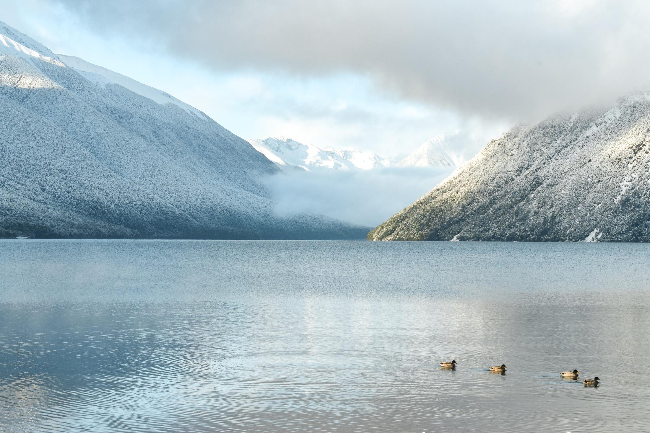 vy över vatten och snötäckta berg.