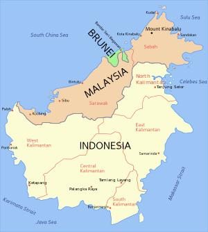 karta över Borneo.