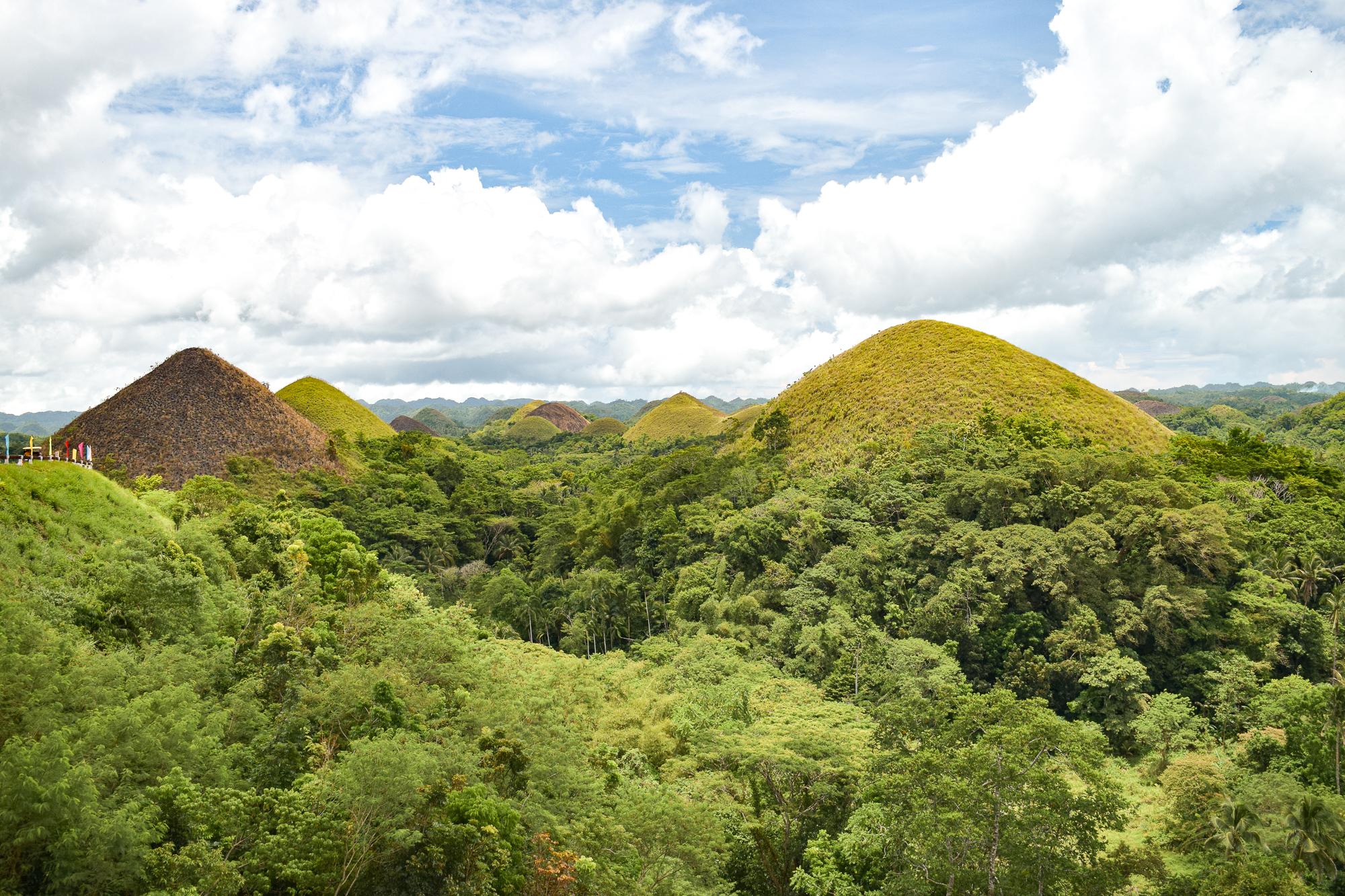 gröna kullar och skog vid Chocolate hills på Bohol.