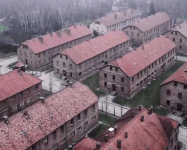 Mannen flyger en drönare över Auschwitz – vad den fångar på bild är ofattbart