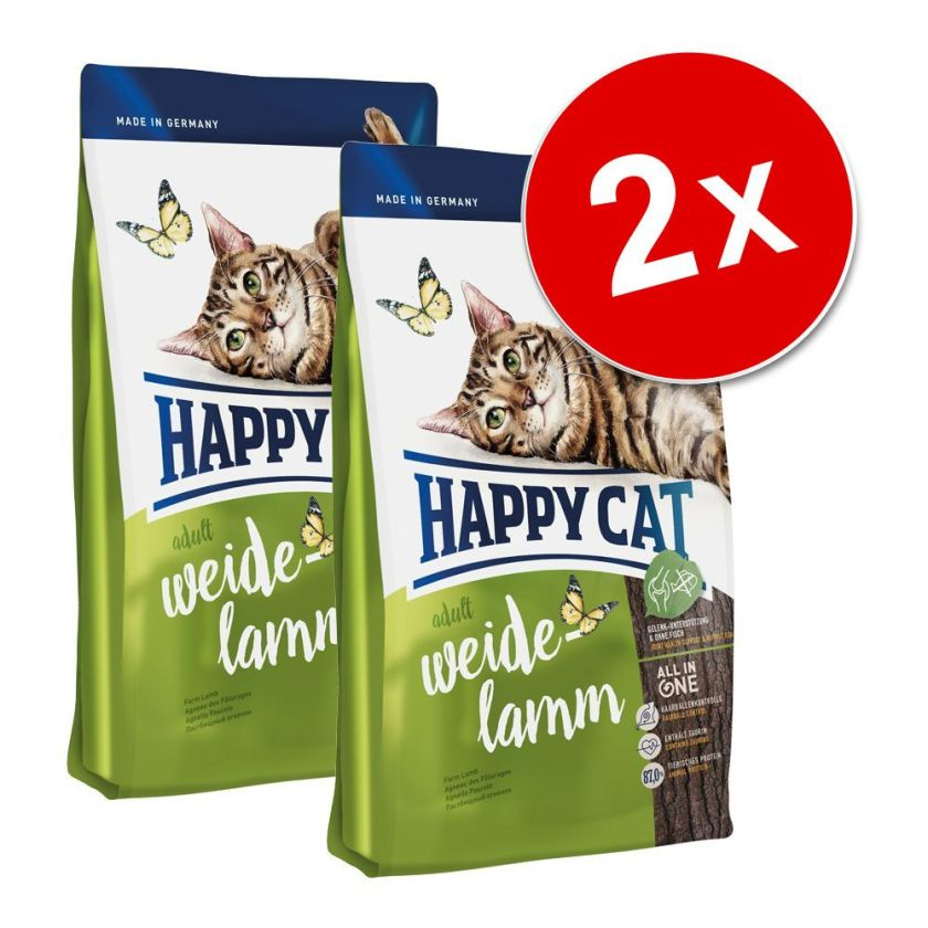 Lot Happy Cat pour chat - Indoor, agneau des pâturages (2 x 4kg)