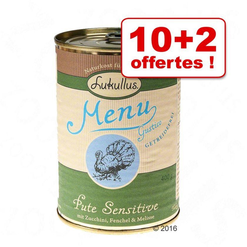 Boîtes Lukullus Menu Gustico 10 x 400 g + 2 boîtes offertes - veau, flocons d'avoine, poire, poireau
