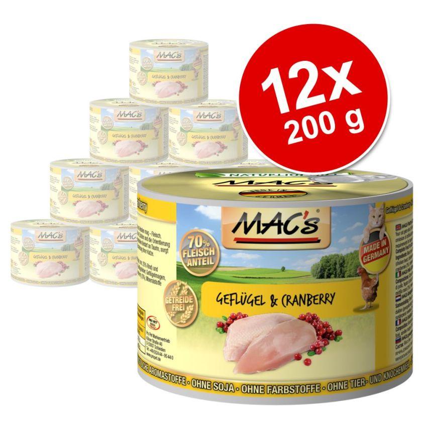 12x200g canard / dinde / poulet MAC's - Nourriture pour Chat