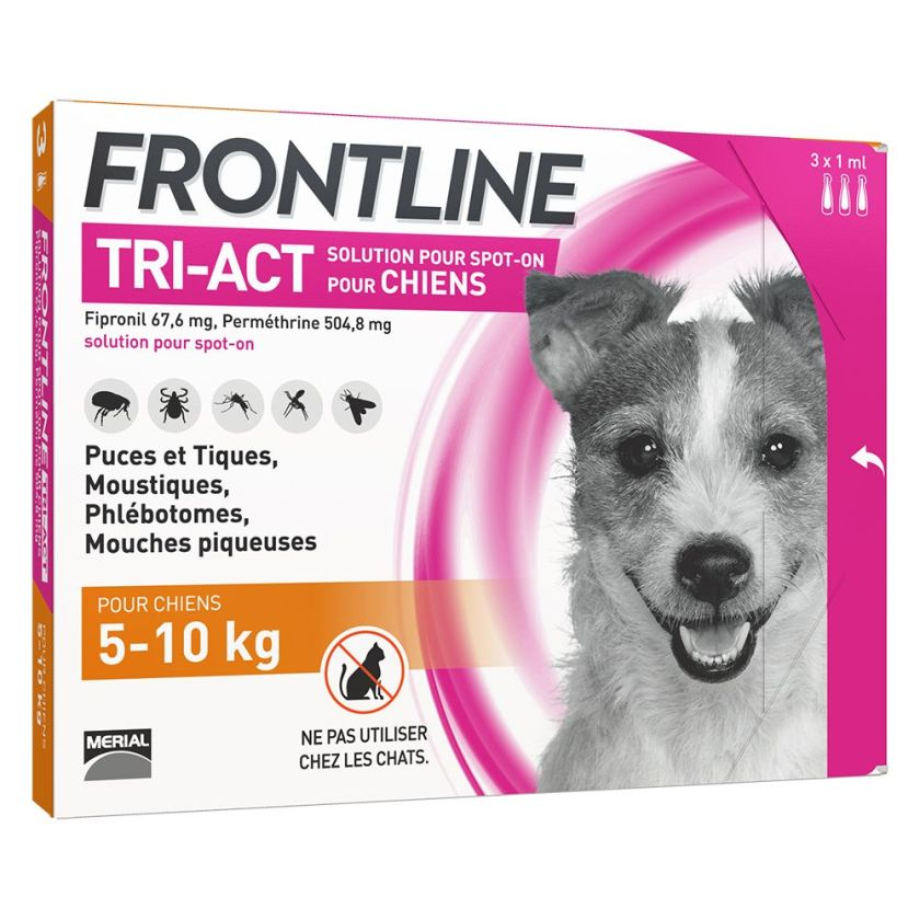 FRONTLINE TRI-ACT Chien, 5 - 10 kg - 6 pipettes