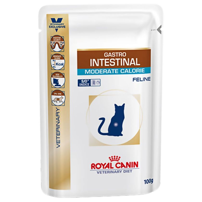 48x100g Gastro Intestinal Moderate Calorie Royal Canin Veterinary Diet - Sachets et Boîtes pour Chat