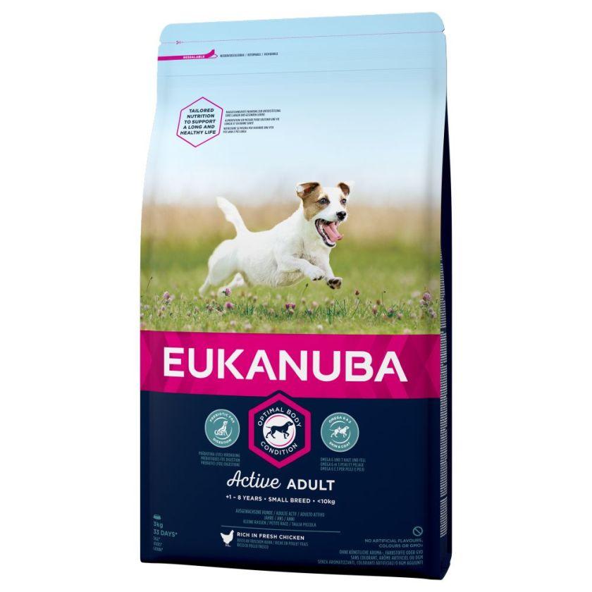 3x3kg Active Adult Small Breed poulet Eukanuba - Croquettes pour chien